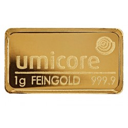 1 Gramm Goldbarren geprägt