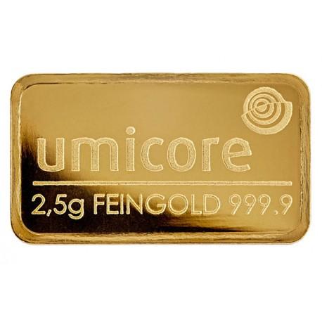 2,5 Gramm Goldbarren geprägt