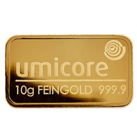 10 Gramm Goldbarren geprägt
