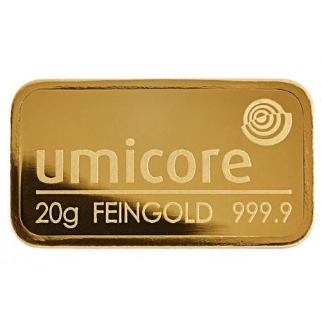 20 Gramm Goldbarren geprägt