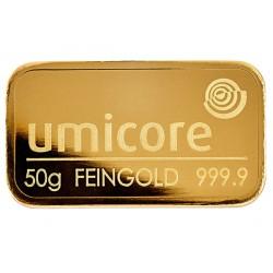 50 Gramm Goldbarren geprägt
