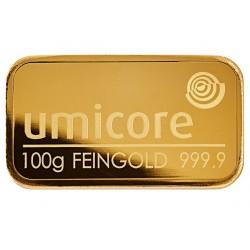 100 Gramm Goldbarren geprägt
