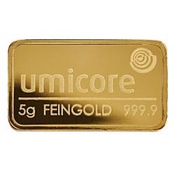 5 Gramm Goldbarren geprägt