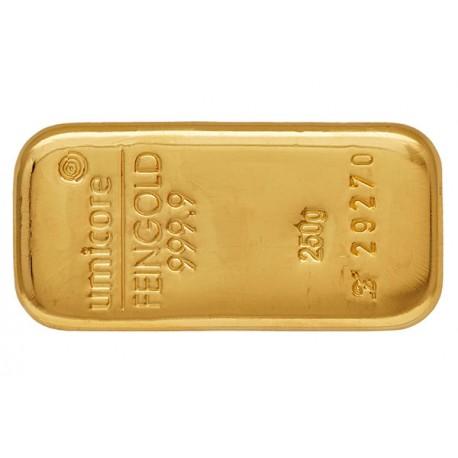 250 Gramm Goldbarren gegossen
